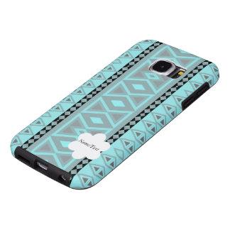 tribal border pattern  vertical, aqua (I) Samsung Galaxy S6 Cases