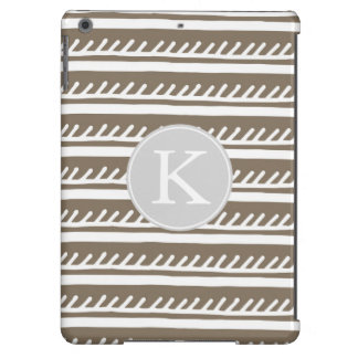 Tribal Brown and White Stripes Monogram iPad Air Cases