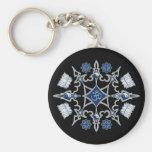 Tribal Buddhist Symbols Basic Round Button Keychain