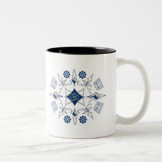Tribal Buddhist Symbols Two-Tone Coffee Mug