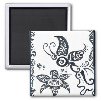 Tribal Butterfly and Flower in Black Ink Magnet