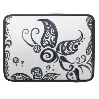 Tribal Butterfly and Flower in Black Ink Sleeve For MacBook Pro