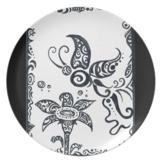 Tribal butterfly in black ink plate