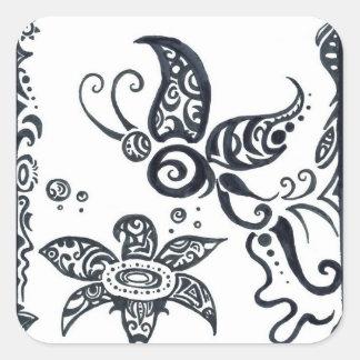 Tribal butterfly in black ink stickers