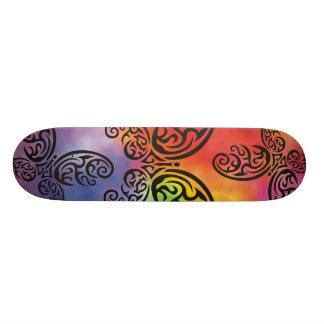 Tribal Butterfly Rainbow Watercolor Background Skateboards