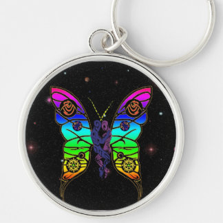 Tribal Butterfly Silver-Colored Round Keychain