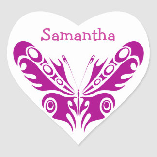 Tribal Butterfly Tattoo Design Heart Sticker