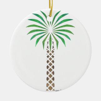 Tribal Canary Date Palm Ceramic Ornament