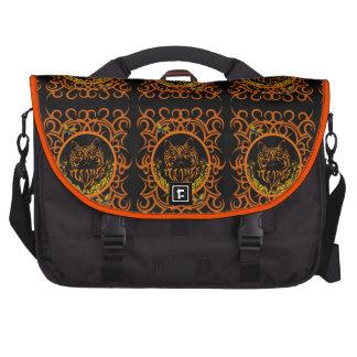 tribal cat orange laptop computer bag