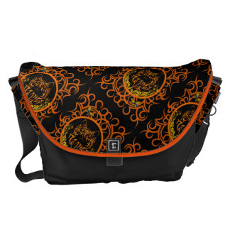 tribal cat orange courier bag
