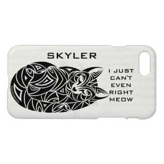 Tribal Cat Sleeping iphone7 Add Your Name Funny iPhone 8/7 Case