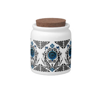 Tribal cat with bluebirds 1 candy jar