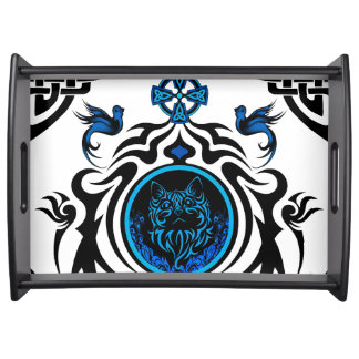 Tribal cat with bluebirds 1 food tray