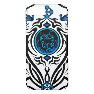Tribal cat with bluebirds 1 iPhone 8/7 case