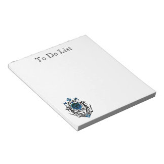 Tribal cat with bluebirds 1 notepad
