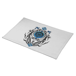 Tribal cat with bluebirds 1 place mat