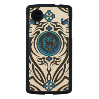 Tribal cat with bluebirds 1 carved® maple nexus 5 case