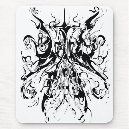 Tribal Chaos Tattoo Black and White Distortion Mouse Pad