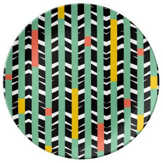 Tribal Chevron   black aqua yellow Porcelain Plate