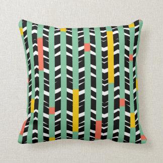 Tribal Chevron - black aqua yellow Throw Pillow