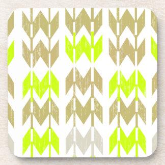 Tribal chevron geometric abstract neon pattern coaster