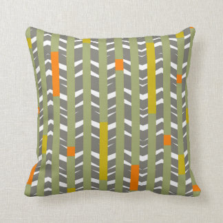 Tribal Chevron - grey olive orange Pillows