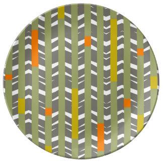 Tribal Chevron   grey olive orange Porcelain Plate