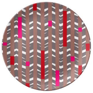 Tribal Chevron   mauve red fuschia Porcelain Plate