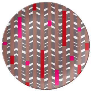 Tribal Chevron | mauve red fuschia Porcelain Plate