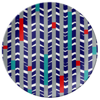 Tribal Chevron | navy teal red Porcelain Plates
