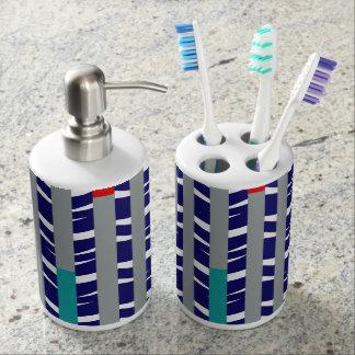 Tribal Chevron - navy teal red Soap Dispenser