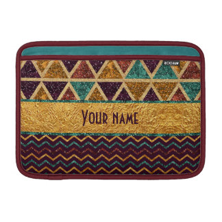 Tribal Chevrons Triangles Faux Glitter Gold Foil MacBook Sleeve