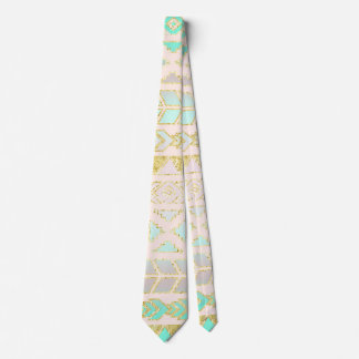Tribal Chic Aztec Design Turquoise and Gold Tie