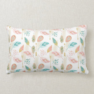 Tribal Chic Pastel Feathers Pink Teal Pillow