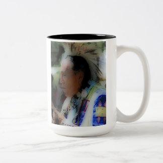 'Tribal Chief in Ceremony' Two-Tone Coffee Mug