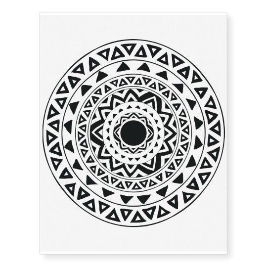 1ab11705b Tribal Circles Mandala in Black and White Tattoo | Zazzle.com