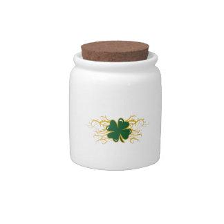 TRIBAL CLOVER APPLIQUE CANDY JAR