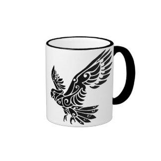 Tribal Cockatoo parrot bird tattoo Ringer Coffee Mug