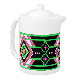 Tribal Collection Neon Green Teapot