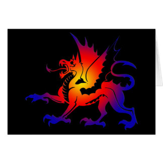 Tribal Color Dragon Greeting Card II
