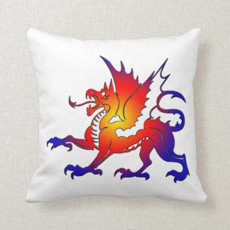 Tribal Color Dragon Throw Pillow