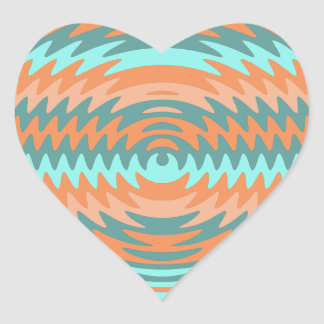 Tribal Coral Aqua Saw Blade Ripples Waves Heart Sticker