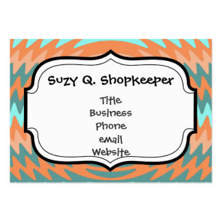 Tribal Coral Aqua Saw Blade Ripples Waves Large Business Card