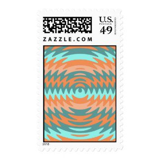 Tribal Coral Aqua Saw Blade Ripples Waves Stamps