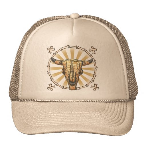 Tribal Cow Skull Hats