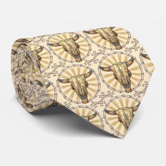 Tribal Cow Skull Tie