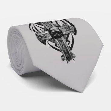 Halloween Themed Tribal Cross Gothic Skull Art Tie