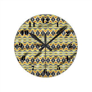 Tribal crumpled pattern round wall clock