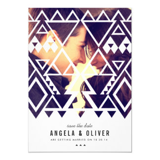 Tribal Cutout Save the Date 5x7 Paper Invitation Card