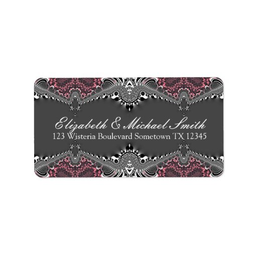 Tribal Dark Pink Damask Address Stickers Label
